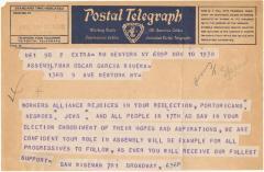 Telegram congratulating Oscar García Rivera