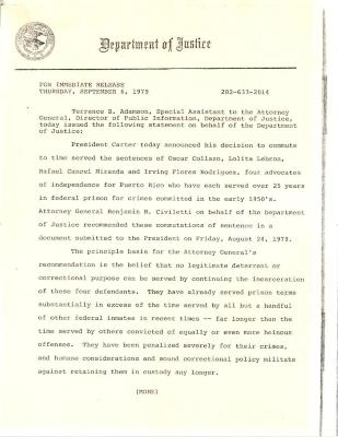 Commutation of Sentence by President Carter of Lolita Lebron, Irving Flores, Rafael Cancel, Oscar Collazo