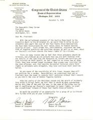 Correspondence to President Jimmy Carter from Robert Garcia
