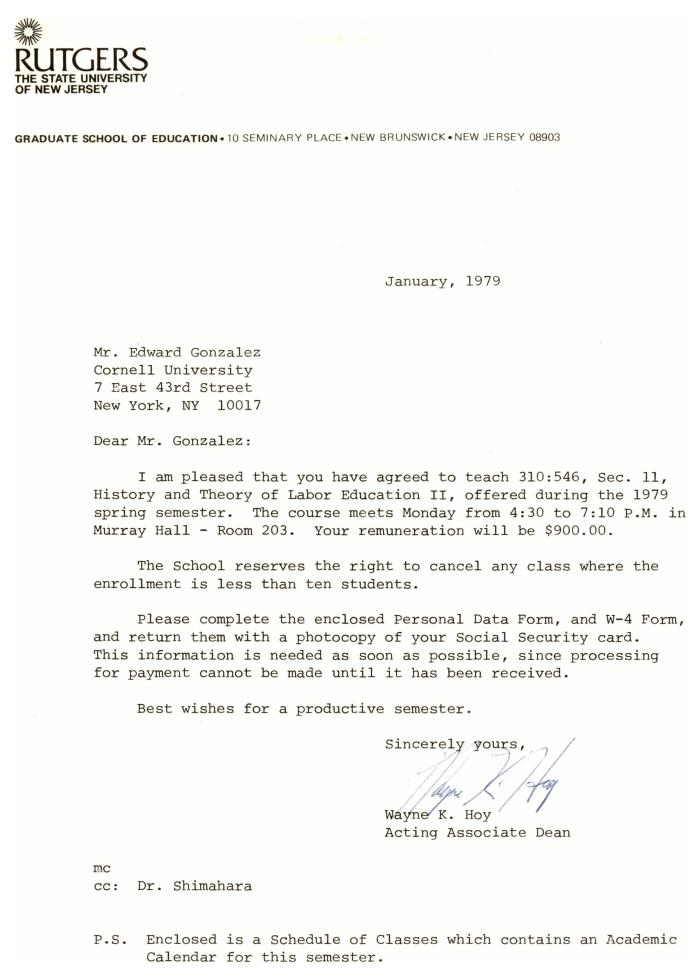 Correspondence to Eddie González from Rutgers University