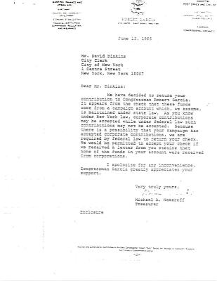 Correspondence to David Dinkins from Michael A. Nemeroff