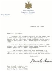 Correspondence to Eddie González from New York Governor Mario Cuomo