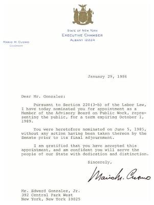Correspondence to Eddie González from New York Governor Mario Cuomo