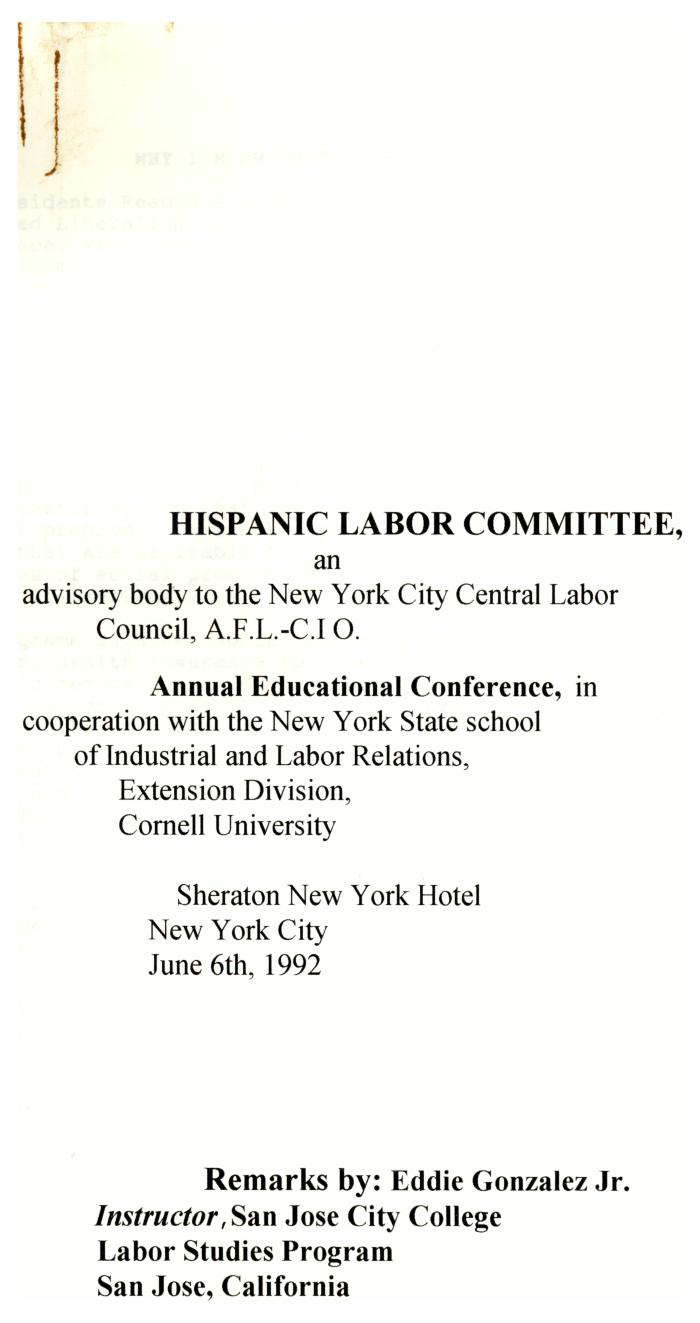 Annual Educational Conference of the Hispanic Labor Committee