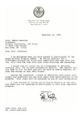 Correspondence to Eddie González from New York City Mayor Ed Koch