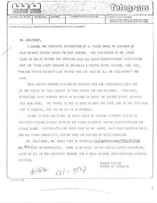Correspondence to President Ronald Reagan from Robert Garcia