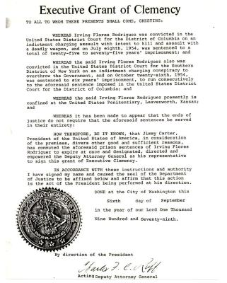 Executive Grant of Clemency for Irving Flores Rodriguez