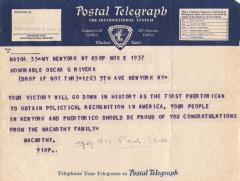 Telegram congratulating the Honorable Oscar Garcia Rivera