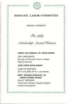 The 1989 Scholarship Award Winners