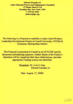 Latino Labor/Workers Leadership Development Project proposal