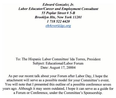 Memo to the Hispanic Labor Committee