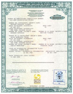 Marriage Certificate for Helen Rodríguez-Trías and Edward González