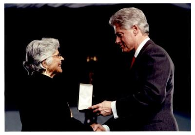 President Bill Clinton presenting the Presidential Citizens Medal to Helen Rodríguez-Trías