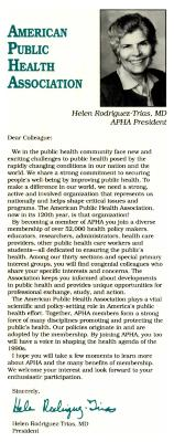 Call for Membership to the American Public Health Association