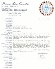 Correspondence to Eddie González from the Hispanic Labor Committee