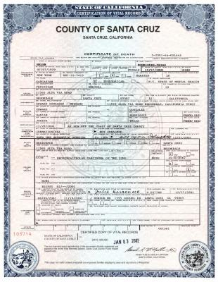 Death Certificate for Helen Rodríguez-Trías