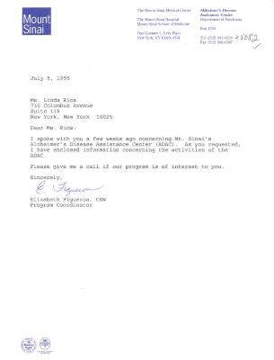 Correspondence to Linda A. Rios from Mount Sinai