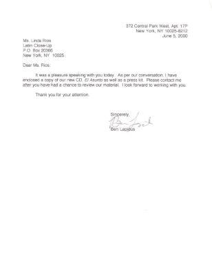 Correspondence to Linda Rios from Ben Lapidus