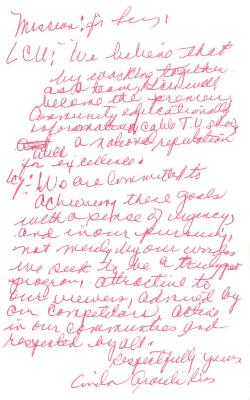 Correspondence to LCU from Linda A. Rios