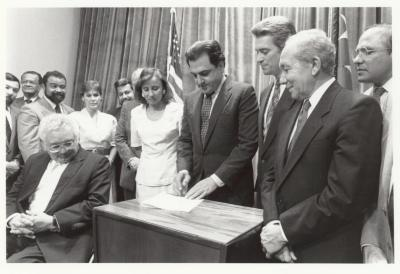 Signing ceremony by Puerto Rico's Governor Rafael Hernandez Colón